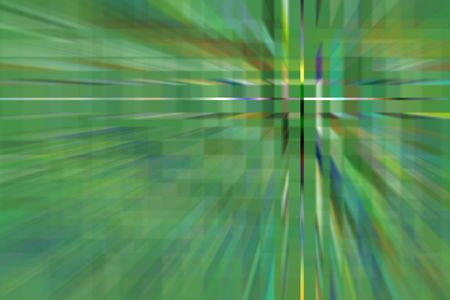 Geometric abstract of an alternate green reality with multicolored cross hairs off center, like a district of office buildings targeted from on high at warp speed