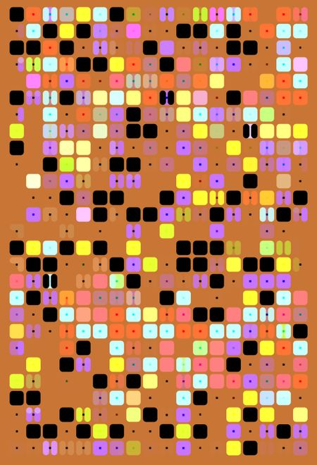 Gamelike geometric multicolored mosaic of squares and split squares, all with rounded corners, along with a scattering of small black dots, on orange background