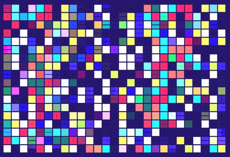 Multicolored geometric mosaic of solid squares (some with dividers) and random gaps, with a scattering of small black dots, on dark blue background, for tiled art deco effect