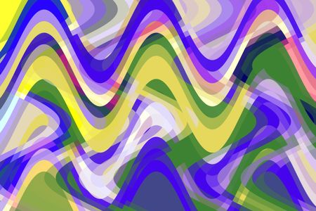 Buoyant multicolored abstract of overlapping sine waves reminiscent of roller coasters, for outdoor and aquatic themes and motifs of constant change