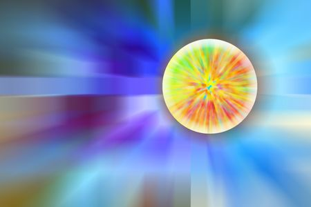 Abstract of a planet or star with multicolored streaks of internal energy and a greenish glow, as if ready to explode or metamorphose, amidst universal radial blur, for themes of alternate reality