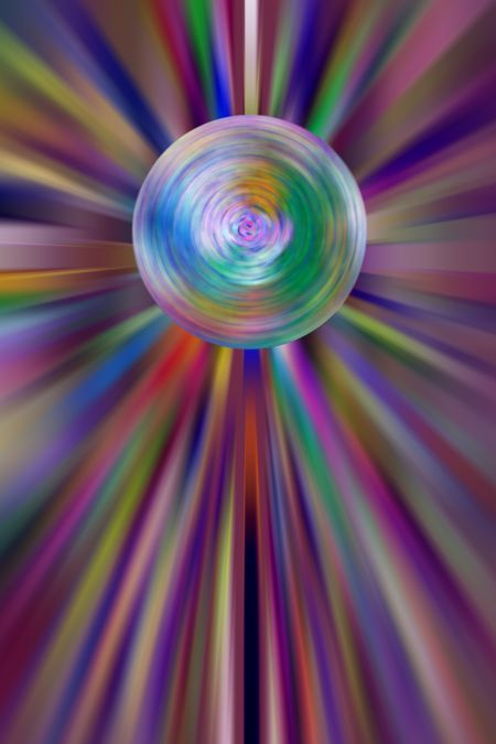 Abstract of spinning globe surrounded by multicolored rays with radial blur, for global or scientific themes