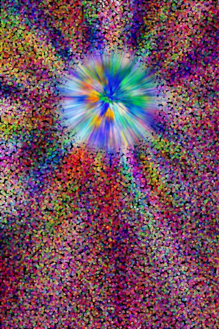 Decorative abstract of a star exploding like a burst of fireworks in a multicolored pointillist cosmos, for astronomical or other scientific or futuristic themes