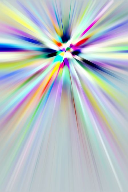 Hallucinatory multicolored abstract of explosive streaks with radial blur, for themes of energy, origin, expansion, and altered states of mind