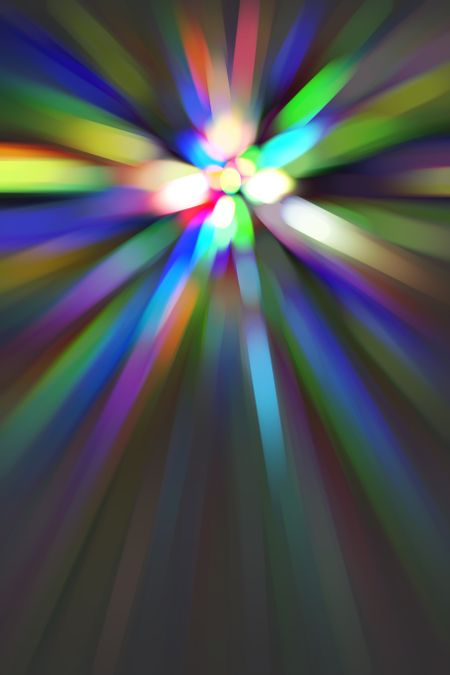Multicolored abstract of many streaks with radial blur converging on a bright core, for themes of creation, transformation, and radiance
