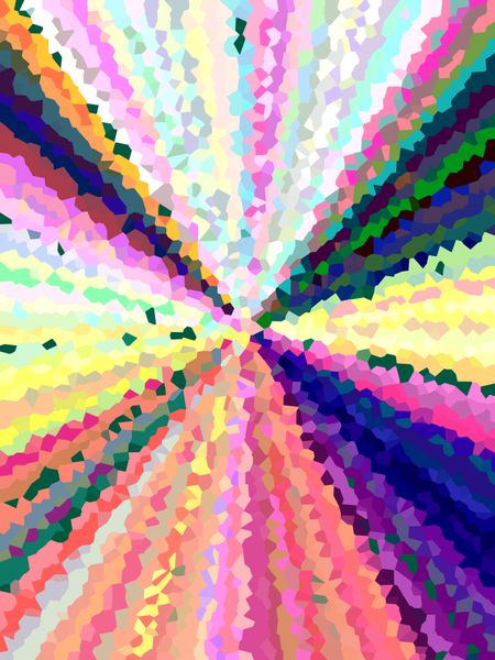 Multicolored abstract of crystallized, serrated rays with decorative distortion for themes of convergence and multiplicity