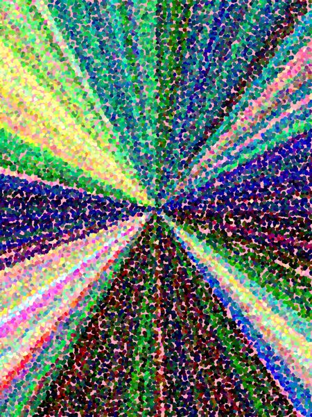 Kaleidoscopic cosmos: Multicolored abstract illustration of convergent pointillist rays for decorative or background themes of centrality, origin, expansion, or diversity