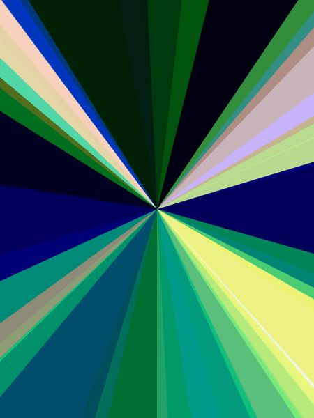 Abstract geometry of origin: Rays of various colors converge at center for illusion of high-speed travel or diminishing perspective, and for decorative or background themes of centrality or emission