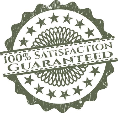 100% Satisfaction guaranteed green rubber isolated stamp ...
