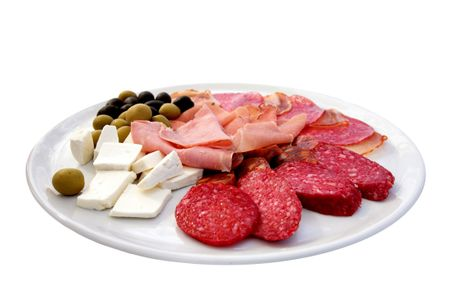 various meat cheese and olives on a plate isolated