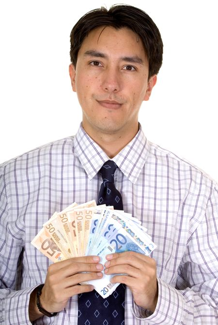 business man holding euro notes over a white background