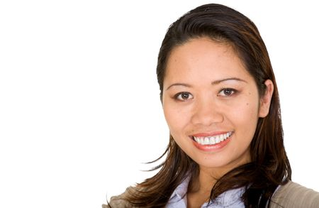 asian business woman portrait over a white background