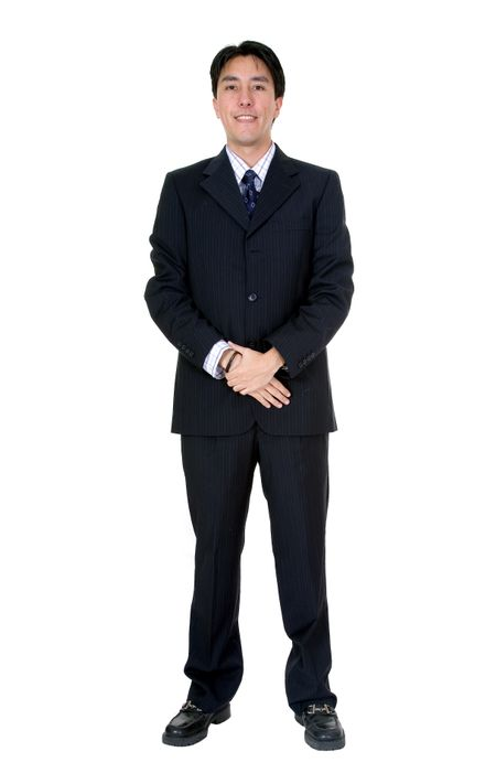 business man standing over a white background