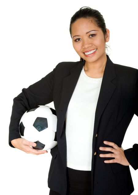 asian business woman - team player over a white background