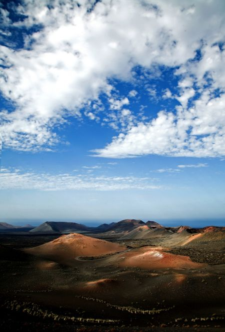 beautiful landscape of a volcanic area with a nice blue sky