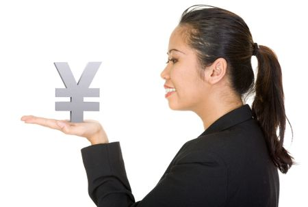 asian business woman holding a yen on her hand over a white background