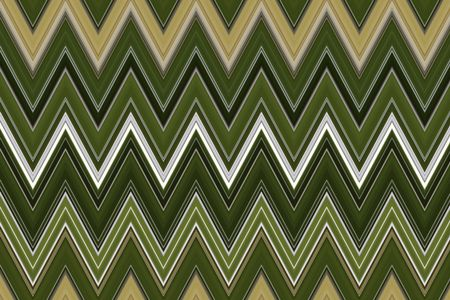 Geometric pattern of zigzags with central flash of white and silver between greens