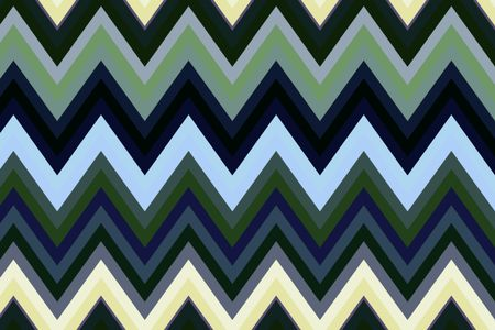 Multicolored geometric zigzag pattern with solid bold bands for themes of repetition and regularity in decoration and background