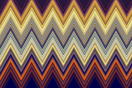 Multicolored abstract pattern of geometric zigzags that illustrates repetition and symmetry