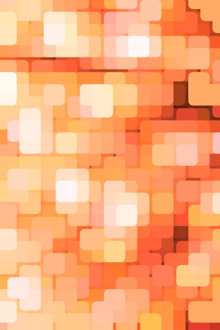 Geometric multicolored abstract of rounded squares, overlapping for illusion of three dimensions, like a grid of city lights in a business or entertainment district at dusk or night