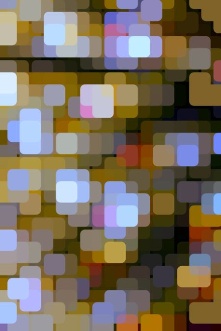 Multicolored geometric abstract illustration of many rounded squares arrayed like so many city lights on a grid with a dark background, for themes of urban density, variety and diversity