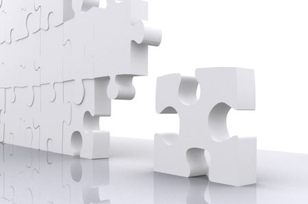 puzzle for business teamwork made in 3d over a white background
