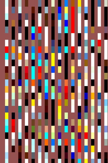 Multicolored mosaic abstract of parallel banded stripes on wine red or salmon background for themes of geometric order and chromatic variety