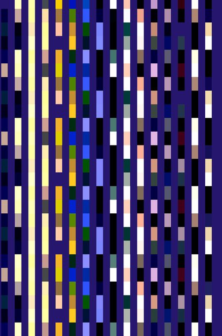 Abstract pattern of parallel stripes, banded with various colors, on a rich blue for decoration and backgrounds with motifs of order and reoccurrence