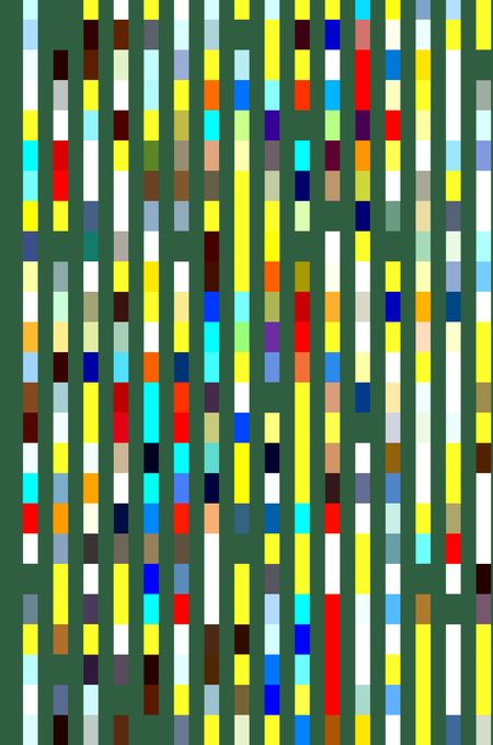 Abstract multicolored geometric pattern of banded parallel stripes on a rich green, for decoration, warps, or background with themes of order, repetition, alternation