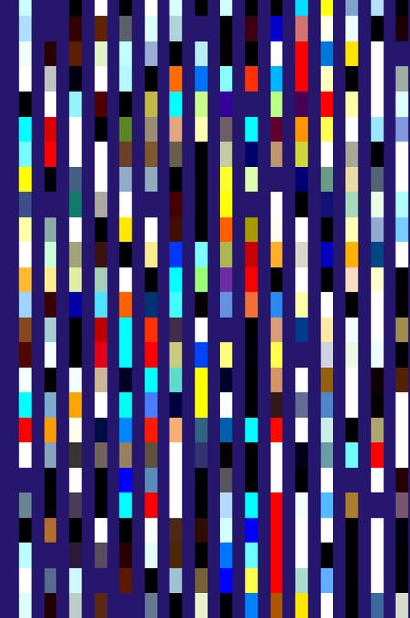 Multicolored geometric pattern of banded parallel stripes on rich dark blue for decoration or background with themes of order and repetition or variation