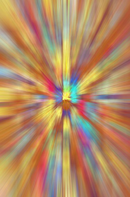 Multicolored radial blur for themes of stellar explosion, temporal distortion, or otherworldly perception