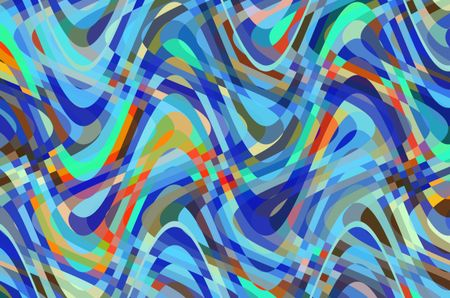 Multicolored synergistic abstract of overlapping sine waves with checkered areas of intersection for decoration and background with motifs of complexity and interactivity, changeability, involvement