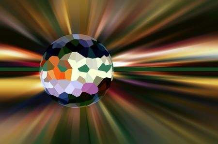 Conceptual abstract of a world with multicolored surface of irregular polygons surrounded by stellar radial blur, for illustration of metaphysical themes of origin, development and destiny