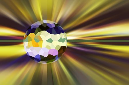 Multicolored crystallized world surrounded by stellar radial blur for decoration and background with themes of outer space, planetary origin, change or global environment
