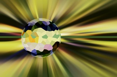 Crystallized planet near the center of a multicolored starburst for futuristic or metaphysical themes of global or interstellar consequence