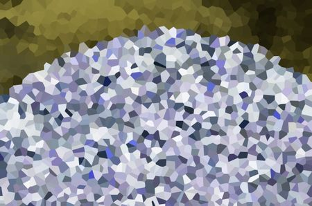 Abstract of a bright crystallized hill under a greenish sky