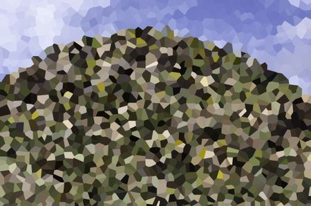 Abstract crystallized illustration of a desert hill, for themes of abundance or accumulation, waste management, or landfill