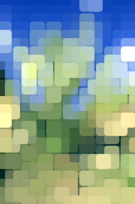Geometric abstract of city lights, with many rounded pastel squares overlapping on a grid for 3-D effect, for decoration and backgrounds with themes of green environment, urban order, and harmony