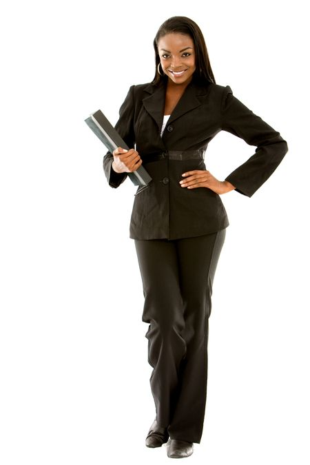 Fullbody business woman carrying a portfolio - isolated