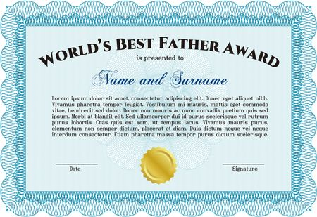 Worlds best father certificate award template sky blue free stock vector worlds best father certificate award template yadclub