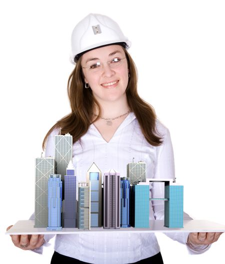 architecture project - business woman over a white background