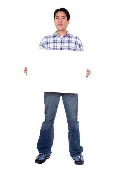 friendly man holding a white board over a white background