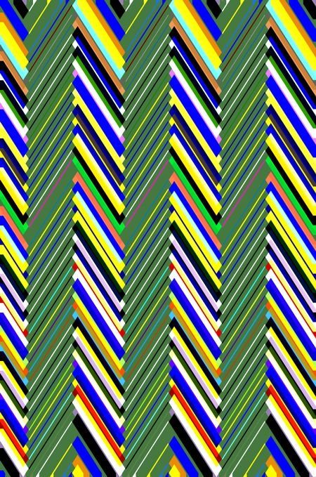 Multicolored kaleidoscopic abstract pattern of zigzags alternating with columns of striped green