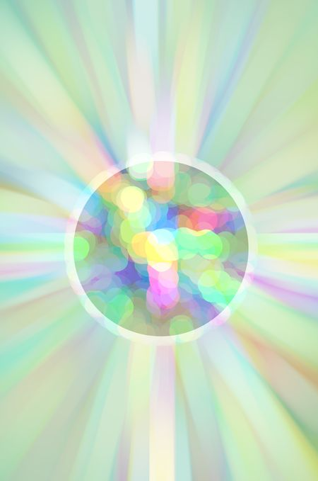 Pastel abstract of an imaginary planet seething with dots of various colors, like multicolored magma, ringed with a whitish atmosphere near a blurred starburst, like a world in formation