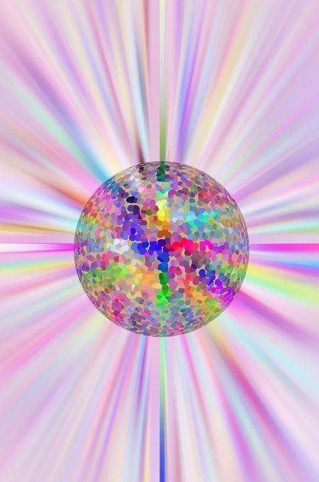 Imaginary primordial pointillist planet on a multicolored starburst background, for environmental or speculative astronomical themes