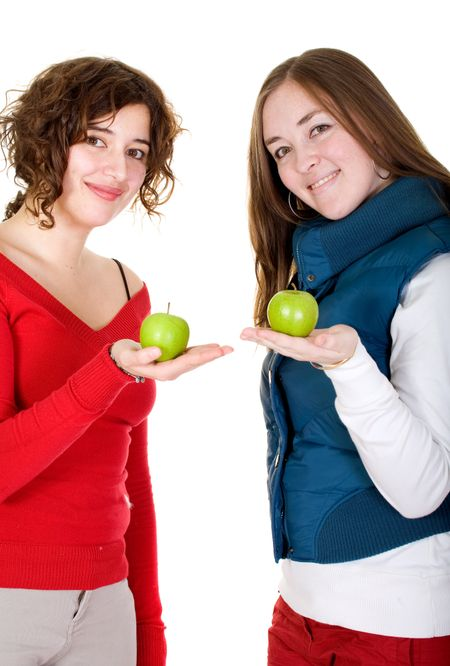 girls on a healthy diet holding green apples over a white background