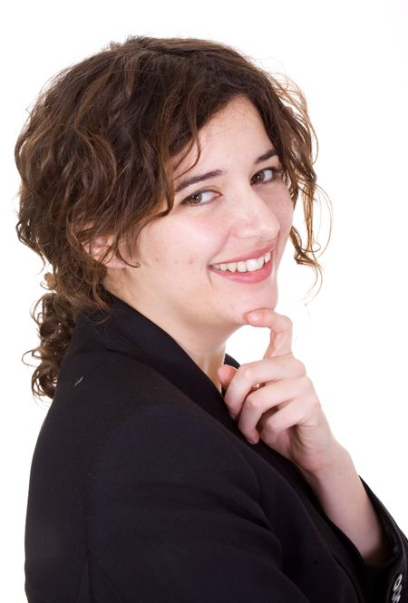 Confident and friendly business woman over a white background