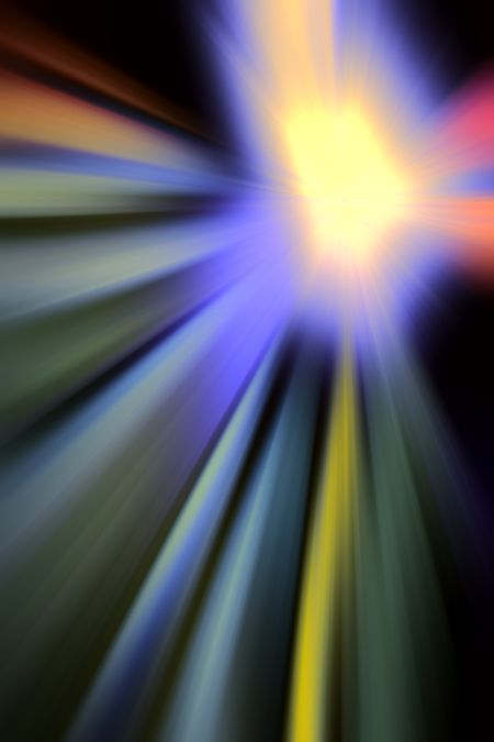 Abstract multicolored stellar expansion with radial blur for cosmological or futuristic themes of illustration