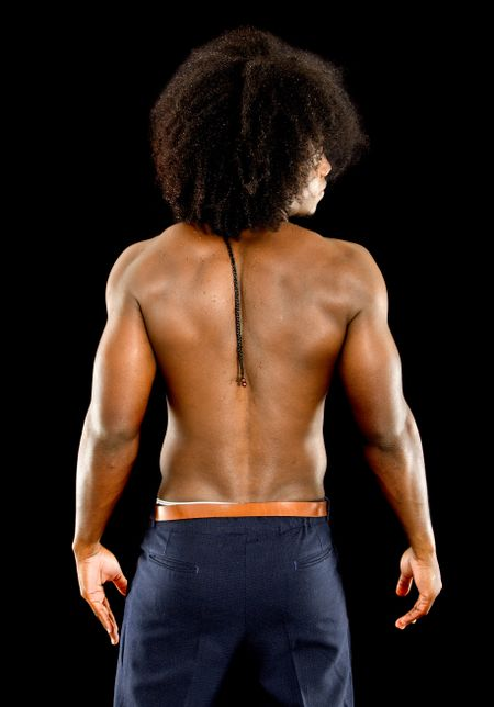 Strong back of a muscular man isolated