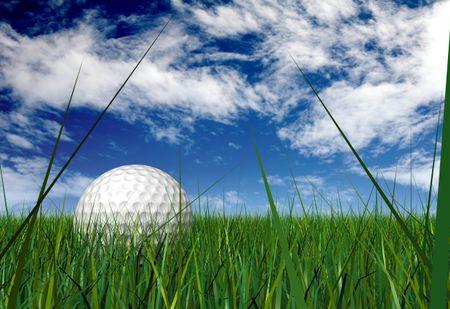 gold ball on grass blades over a blue sky - mad ein 3d